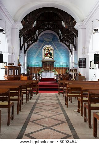 Looking From The Nave To The Chancel And Altar At Holy Trinity Church In Bangalore.
