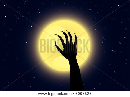 Werewolf's claws on a full moon background