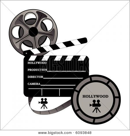 Hollywood Take One Board With Film Reel