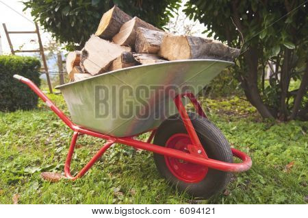 Wood On A Wheelbarrow