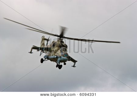 Helicopter Gunship In Flight
