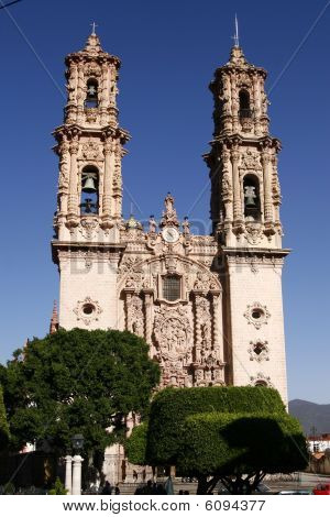 Facade Of The Santa Prisca Church In A Town Of Taxco, Guerrero, Mexico
