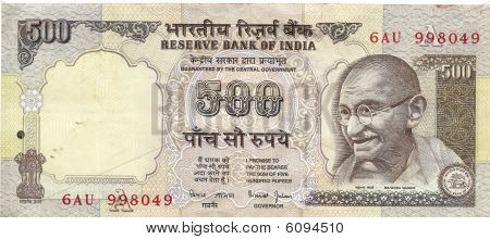 Indian 500 Rupee Note With Portrait Of Gandhi
