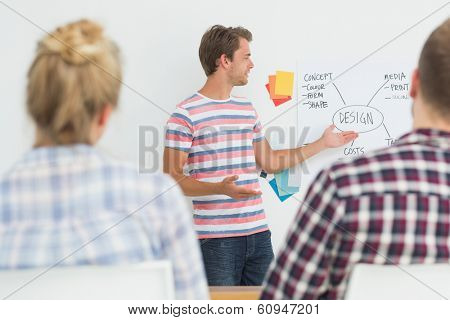 Smiling young designer presenting ideas to colleagues in creative office