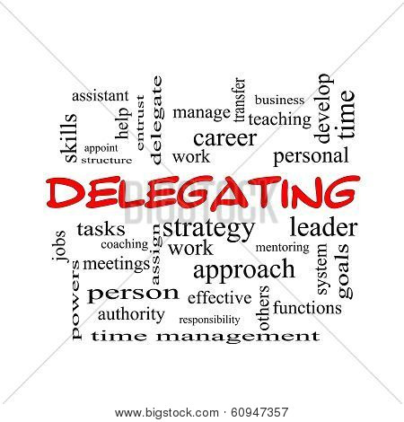 Delegating Word Cloud Concept In Red Caps