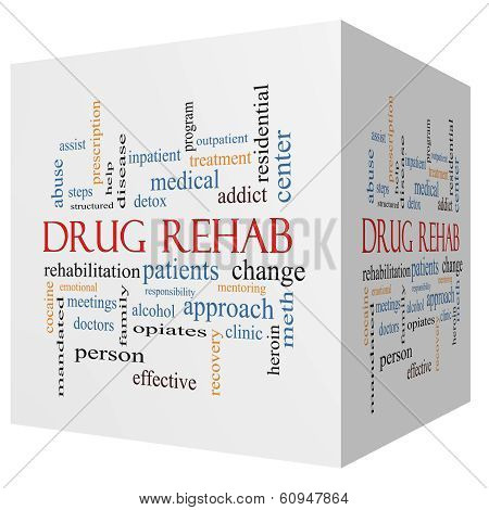 Drug Rehab 3D Cube Word Cloud Concept