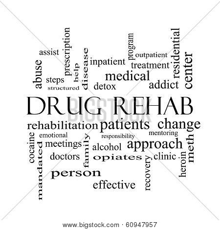 Drug Rehab Word Cloud Concept In Black And White