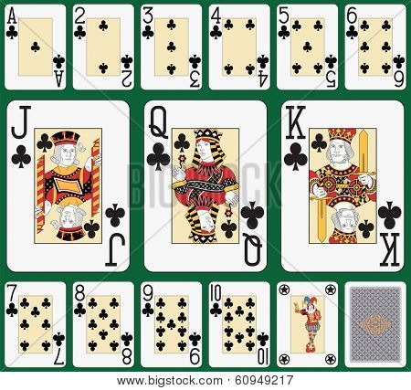 Playing cards, club suit, joker and back. Faces double sized. Green background in a separate level