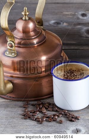Coffee Cup, Beans And Copper Kettle