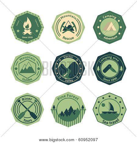 Outdoors tourism camping flat emblems