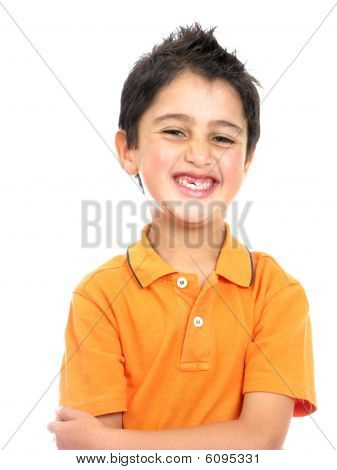 Boy Smiling Isolated Over A White
