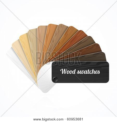 Wood color swatches, guide, samples, fan. Vector.