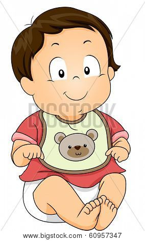 Illustration of a Baby Boy Wearing a Bib with a Bear Design