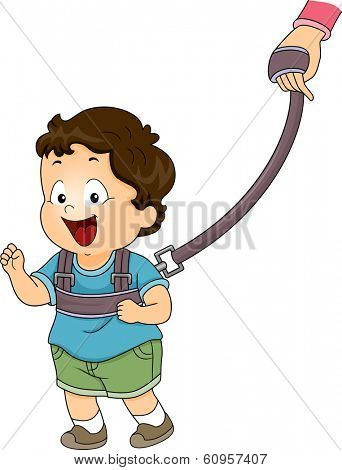 Illustration of a Baby Boy Strapped to a Backpack Leash