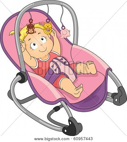 Illustration of a Baby Girl Trying to Reach the Toys Attached to Her Rocker