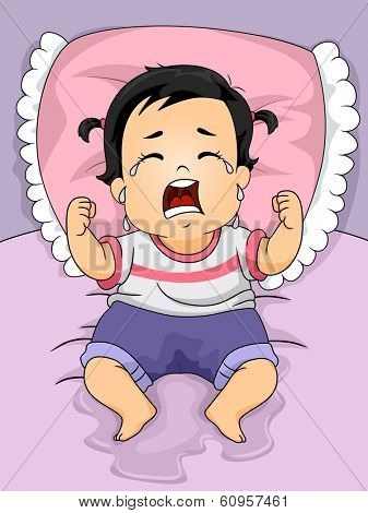 Illustration of a Baby Girl Crying Out Loud After Wetting the Bed