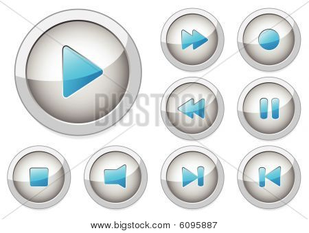 Set of stylish vector multimedia buttons. Aqua web 2.0. More in my gallery.