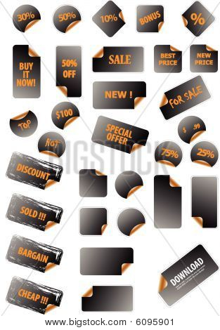 Collection of promotion vector labels. Different shapes, easy to edit, any size. Perfect for adding