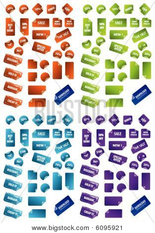Collection of multicolored vector sticky marketing labels. Perfect for adding text, icons. More in m