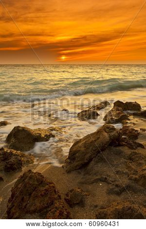 time exposure of waves on venice beach, florida