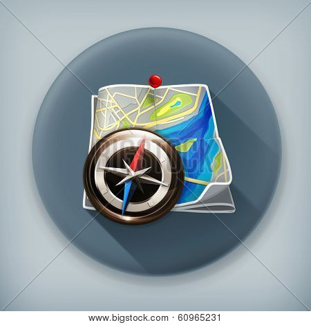 Navigation map long shadow vector icon
