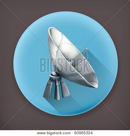 Parabolic antenna long shadow vector icon