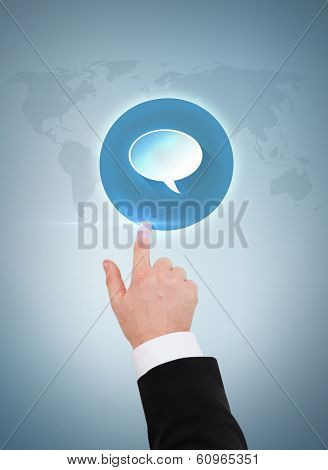 business and advertisement concept - close up of businessman pointing to text bubble