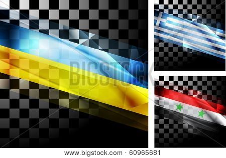 Concept design of flags. Ukraine, Greece and Syria. Vector illustration eps 10