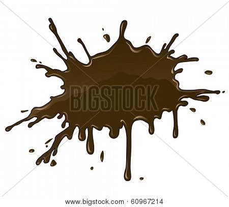 Chocolate splash blot with drops and blot. Eps10 vector illustration. Isolated on white background