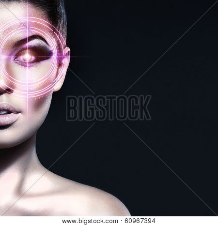 Portrait of young, healthy and attractive girl with the laser elements on her eyes (medicine and security concept)