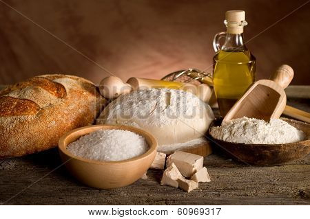dough and ingredients for homemade bread