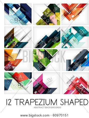 Collection of trapezium geometric shape backgrounds - 12 design templates. For business background | numbered banners | business lines | graphic website