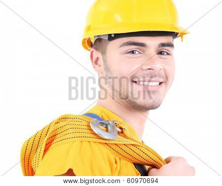 Young worker isolated on white