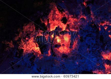 embers and ash in darkness - abstract natural background