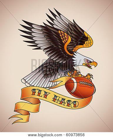 American football tattoo design of an eagle with a leather ball in its claws. Editable vector illustration.