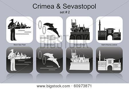 Landmarks of Crimea & Sevastopol. Set of monochrome icons. Editable vector illustration.