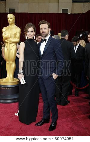 LOS ANGELES - MAR 2: Olivia Wilde, Jason Sudeikis  at the 86th Annual Academy Awards at Hollywood & Highland Center on March 2, 2014 in Los Angeles, California