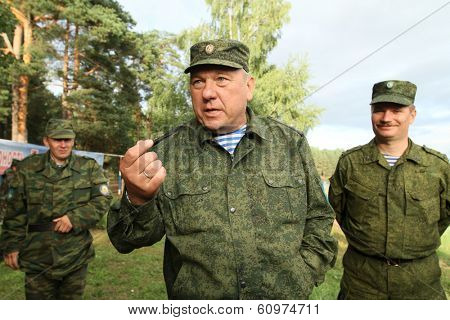 BUDIHINO, RUSSIA - AUG 26, 2010: Vladimir Shamanov - Commander-in-Chief Russian Airborne Troops during Command post exercises with 98-th Guards Airborne Division in Kostroma region.