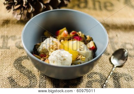 Bowl of yogurt; cut fruits and apple sauce on sack