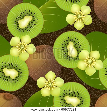 Fruity seamless pattern with kiwi fruit on dark background