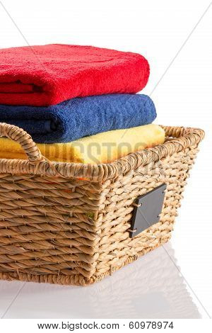 Fresh Clean Towels In A Wicker Basket