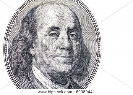 Benjamin Franklin portrait from hundred dollars banknote