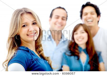 Woman With Friends Isolated