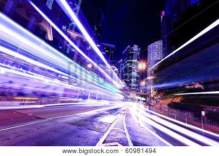 Fast moving car light in Hong Kong