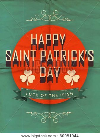 Happy St. Patrick's Day celebration sticker, tag or label with stylish text on red and green background.
