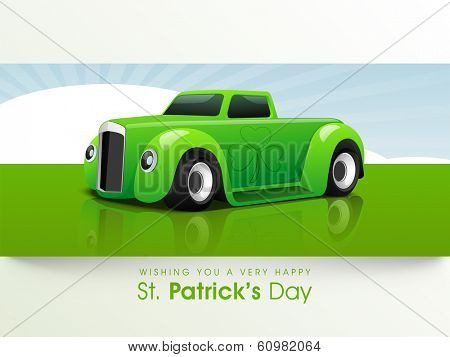 Happy St. Patrick's Day celebrations concept with green car on nature background, can be use flyer, banner or poster.