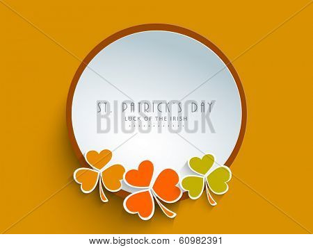 Beautiful sticky, tag or label design decorated by colourful clover leaves on yellow background for Irish festival Happy St. Patrick's Day.