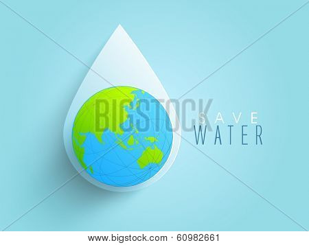 World water day concept with water drop made by globe on blue background, can be use as sticker, tag or label design.