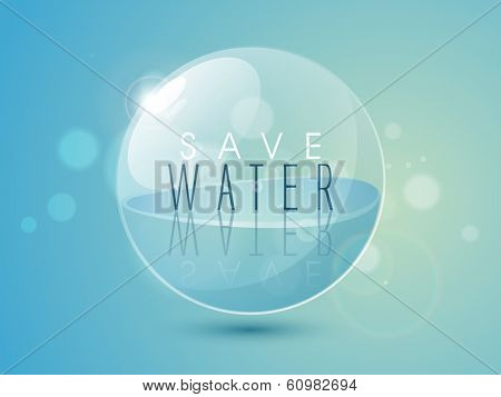 World water day concept with sphere with full of water on blue background, can be use as flyer, banner or poster design.