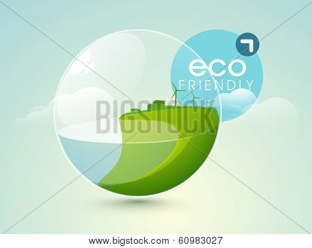 World water day concept with nature in sphere and blue tag.